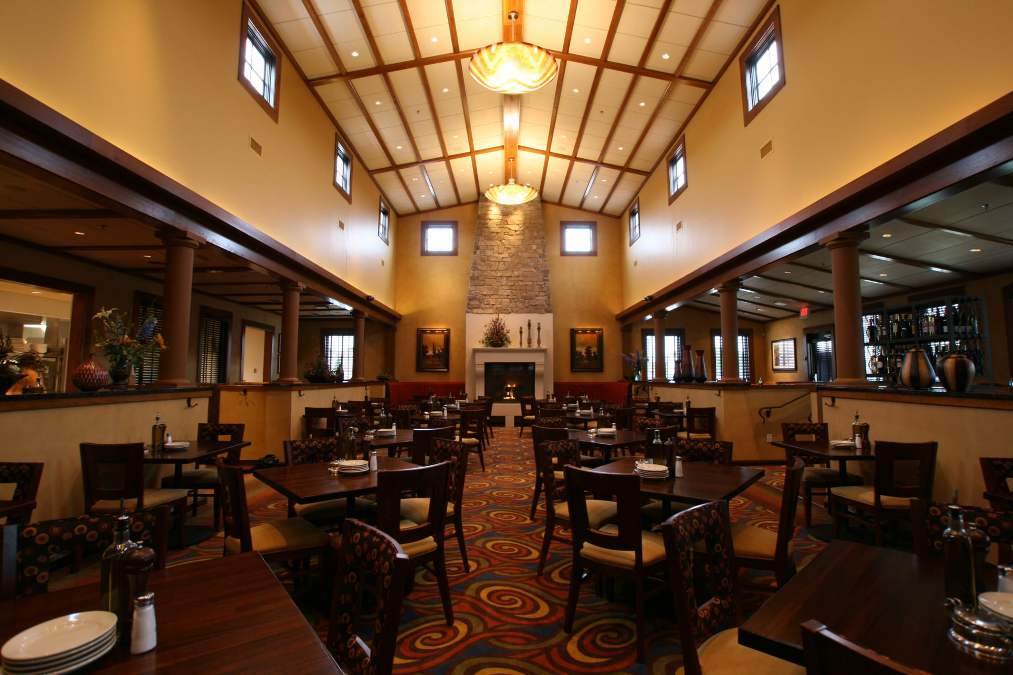 Ciatti's main dining area with fireplace